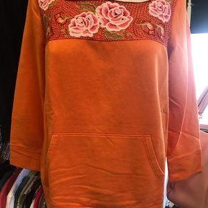 Anthropologie Lilka embroidered orange top